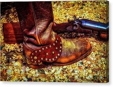 Boot With Spur And Shotgun Canvas Print