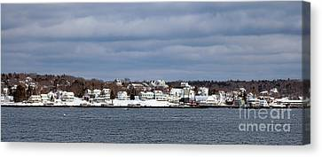 Boothbay Harbor In Winter Canvas Print by Olivier Le Queinec