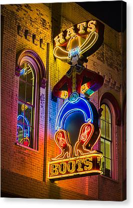 Nashville Tennessee Canvas Print - Boots And Hats by Stephen Stookey