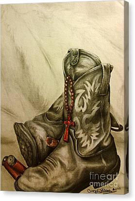 Boots And Shells Canvas Print by Angie Sellars