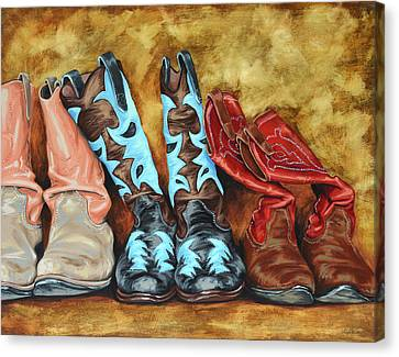 Cowboys Canvas Print - Boots by Lesley Alexander