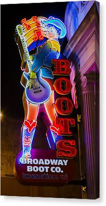 Nashville Canvas Print - These Boots Are Made For Walking by Stephen Stookey