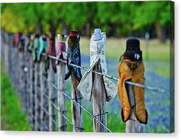 Canvas Print featuring the photograph Boots On The Fence by Linda Unger