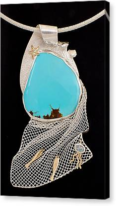 Silver Turquoise Canvas Print - Bord De Mer Or Sea Shore Necklace by Marie-Claire Dole