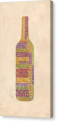 Bordeaux Wine Word Bottle Canvas Print by Mitch Frey