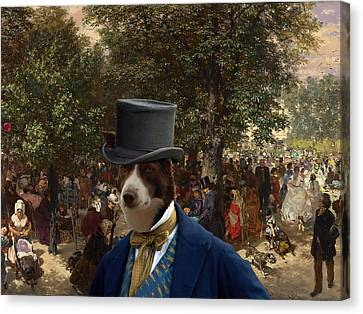 Border Collie Art Canvas Print - Afternoon In The Tuileries Gardens Canvas Print by Sandra Sij