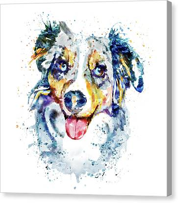 Canvas Print featuring the mixed media Border Collie  by Marian Voicu