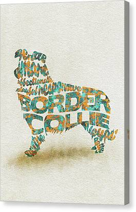 Border Collie Watercolor Painting / Typographic Art Canvas Print