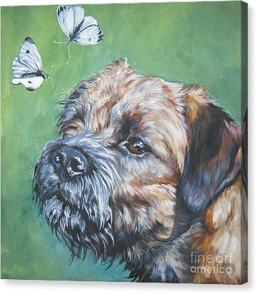Border Terrier With Butterflies Canvas Print