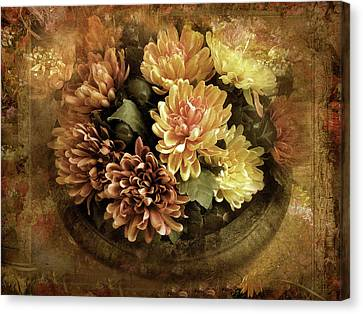 Bordered Mums Canvas Print by Jessica Jenney