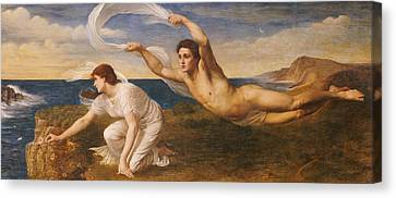 Boreas And Orithyia Canvas Print by Oswald von Glehn