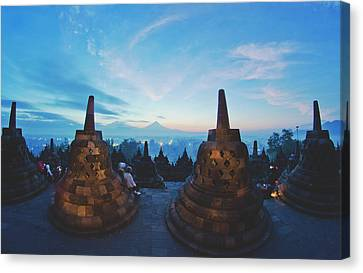 Srdjan Kirtic Canvas Print - Borobudur Temple, Indonesia At Dusk by Srdjan Kirtic
