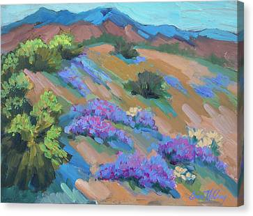 Canvas Print featuring the painting Borrego Springs Verbena by Diane McClary