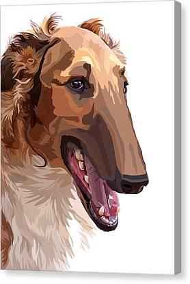 Greyhound Canvas Print - Borzoi by Alexey Bazhan