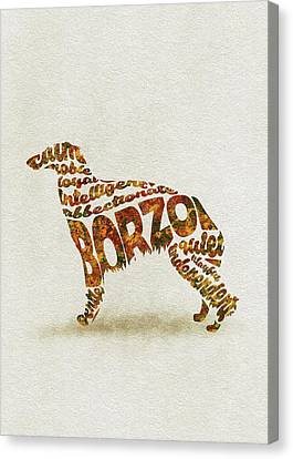 Canvas Print featuring the painting Borzoi Dog Watercolor Painting / Typographic Art by Inspirowl Design