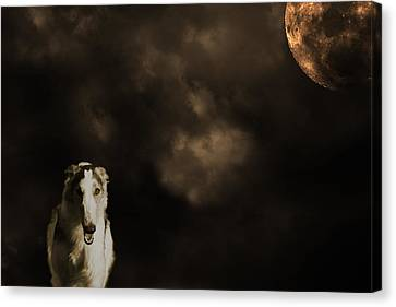 Canvas Print featuring the photograph Borzoi Wolf Hound And Full Moon by Christian Lagereek