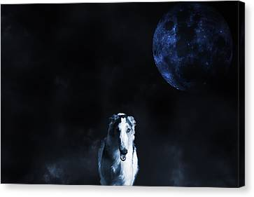 Canvas Print featuring the photograph Borzoi Wolf-hound, Hunting Under A Full Moon by Christian Lagereek