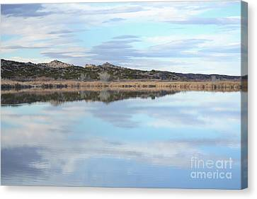 Canvas Print featuring the photograph Bosque Desert Lake by Andrea Hazel Ihlefeld