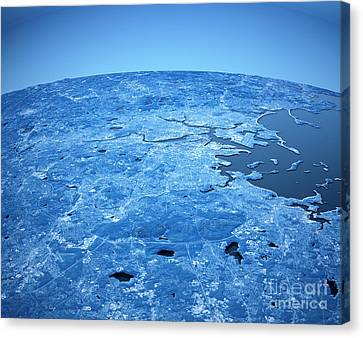 Boston 3d Aerial View Blue Color Canvas Print by Frank Ramspott