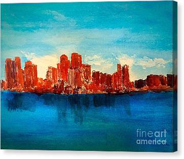 Boston Abstract Canvas Print by Anne Sands