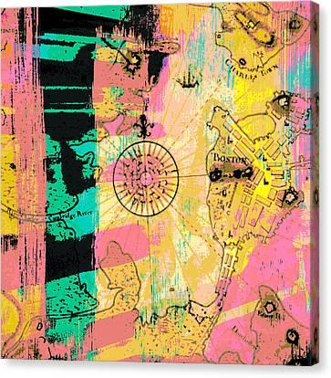 Boston Abstract Compass V2 Canvas Print by Brandi Fitzgerald