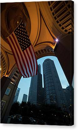 Boston American Flag Two International Place Canvas Print by Toby McGuire
