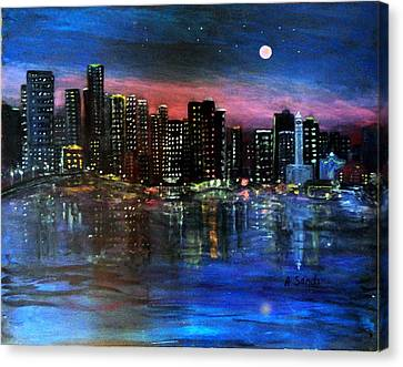 Boston At Night Canvas Print