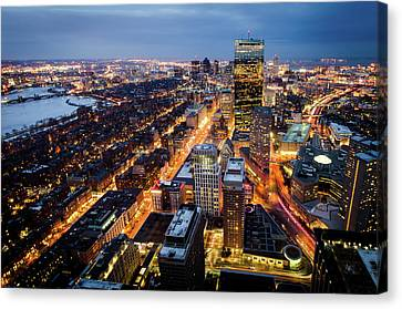 Boston At Night Canvas Print by Michael Weber