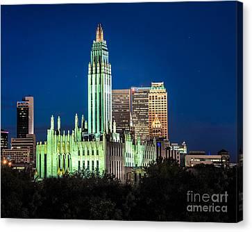 Boston Avenue Methodist Church At Twilight Canvas Print