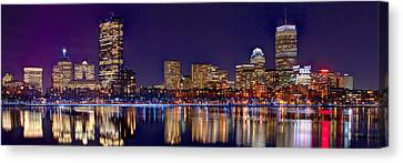 Canvas Print featuring the photograph Boston Back Bay Skyline At Night 2017 Color Panorama 1 To 3 Ratio by Jon Holiday