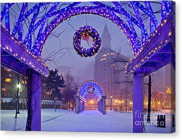 Boston Blue Christmas Canvas Print by Susan Cole Kelly
