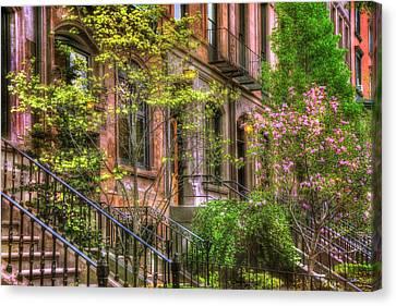 Spring Scenes Canvas Print - Boston Brownstones In Spring - Back Bay by Joann Vitali