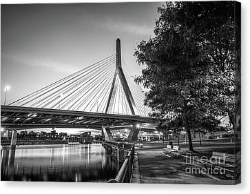 Boston Bunker Hill Bridge At Night Black And White Picture Canvas Print