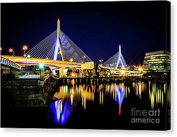 Boston Bunker Hill Zakim Bridge At Night Photo Canvas Print
