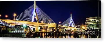 Boston Bunker Hill Zakim Bridge Panorama Photo Canvas Print