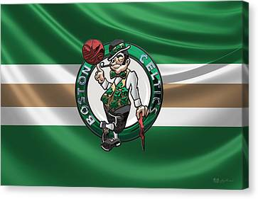 Basketball Collection Canvas Print - Boston Celtics - 3 D Badge Over Flag by Serge Averbukh