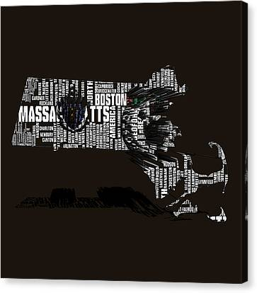 Boston Celtics Typographic Map 3b Canvas Print