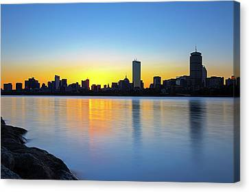 Canvas Print featuring the photograph Boston Charles River Sunrise by Juergen Roth