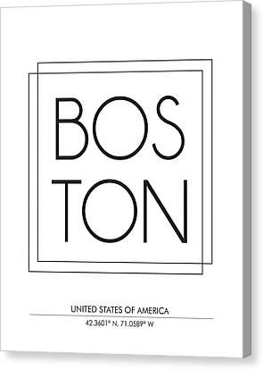 Boston City Print With Coordinates Canvas Print