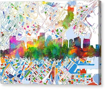 Abstract Digital Canvas Print - Boston City Skyline Watercolor 15 by Bekim Art