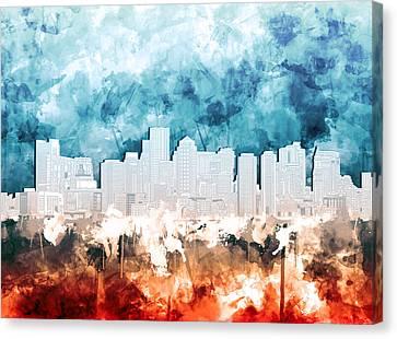 Boston City Skyline Watercolor 2 Canvas Print