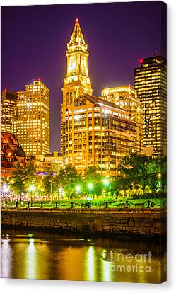 Custom House Tower Canvas Print - Boston Cityscape At Night by Paul Velgos
