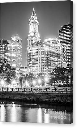 Custom House Tower Canvas Print - Boston Cityscape Black And White Photo by Paul Velgos