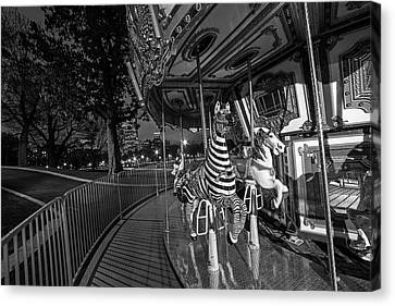 Boston Common Carousel Boston Ma Black And White Canvas Print by Toby McGuire