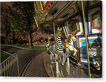 Boston Common Carousel Boston Ma Canvas Print by Toby McGuire
