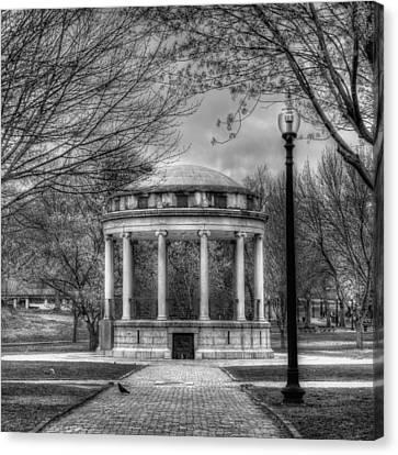 Boston Common Rotunda - Black And White Square Canvas Print by Joann Vitali