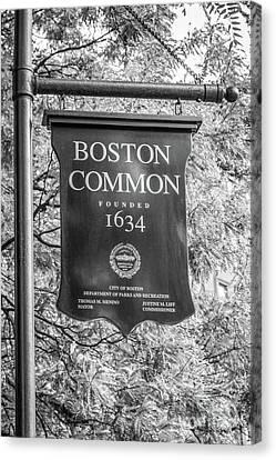 Boston Common Sign Black And White Photo Canvas Print