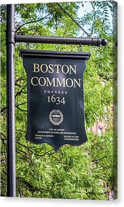 Boston Common Sign Photo Canvas Print