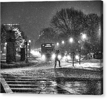 Boston Common Snowstorm Ma Black And White Canvas Print by Toby McGuire