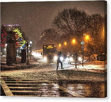 Crosswalk Canvas Print - Boston Common Snowstorm Ma by Toby McGuire
